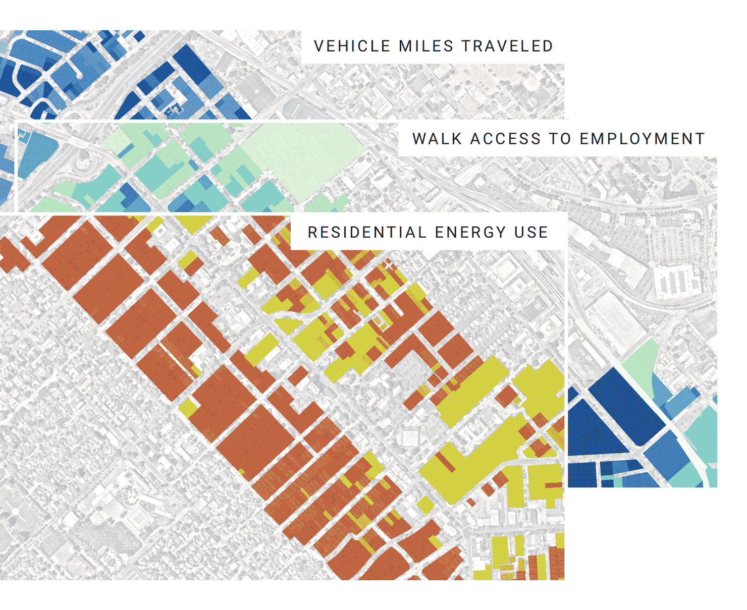 Maps showing different analysis types of a development corridor